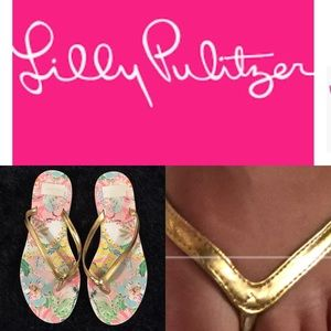 Lilly Pulitzer Gold Metallic Sneaker Bottom Flops